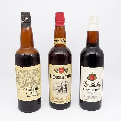 Three Bottles of Various Port Including Yalumba Port, Pioneer Port and More