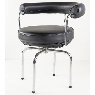 Australian Made Version of the LC7 Le Corbusier Swivel Armchair with Black Leather Upholstery, Designed 1928 This Chair Circa 1980