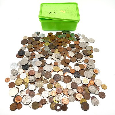 Large Group of Assorted International Coins, Including Box