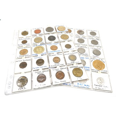 Two Pages of Medallions and Tokens, Including 1997 $1 Las Vegas Gaming Token, 1990 $2 Launceston Country Club Token and More