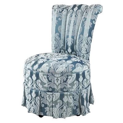 Vintage Blue Patterned Silk Upholstered Bedroom Chair
