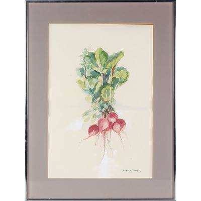 Heather Francis (New Zealand, Australia 1925-) Radishes, Watercolour