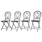 Group of Four Modern Wrought Iron Folding Outdoor Chairs