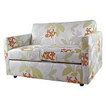 Two Seater Fold-Out Sofa Bed with Attractive Bold Patterned Floral Upholstery