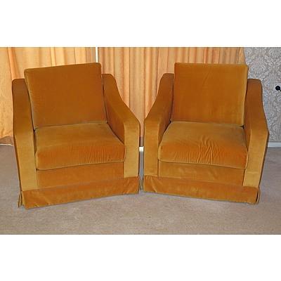 Pair of Retro Parker Burnt Orange Velvet Armchairs