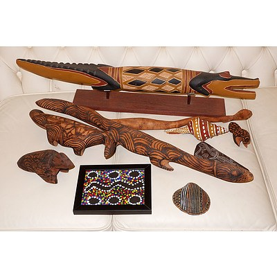 Group of Aboriginal Artefacts, Including Pokerwork, Incised Slate, Dot Painting etc