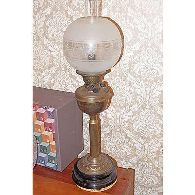 Victorian Brass and Porcelain Banquet Lamp, with Duplex Burner and Etched Glass Shade