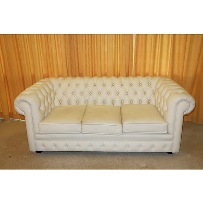 White Buttoned Leather Upholstered Three Seater Chesterfield Lounge
