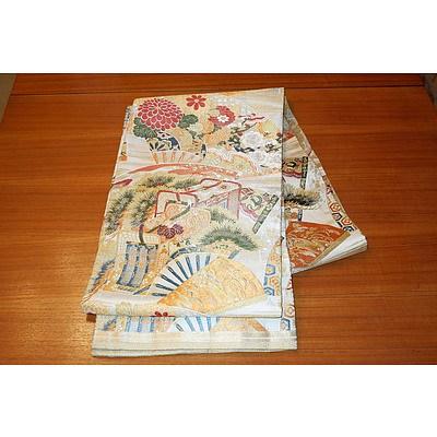 Large Japanese Embroidered Silk Obi