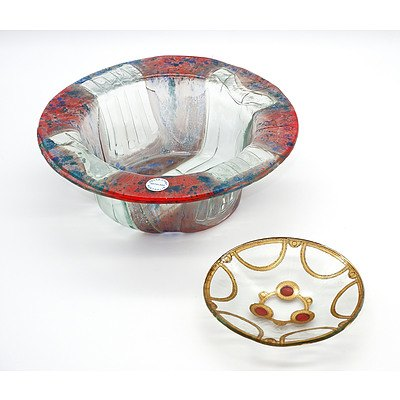 Two Peter Crisp (1959-) Glass Bowls, One with Gilt and Enamel Decoration