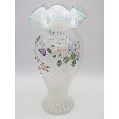 Hand Painted Fenton Vase, Signed S Kisner