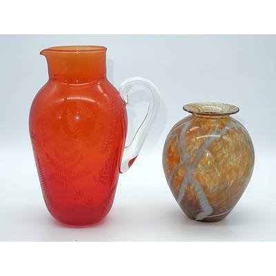 Budgeree Glass Vase and a Randall Etched Ruby Glass Water Pitcher with NGA Stamp to base