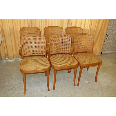 Six Czechoslovakian Ligna Bentwood and Cane Dining Chairs