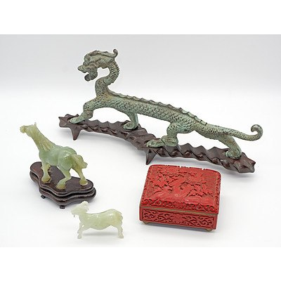Group of Asian Artefacts, Including Serpentine Horse, Cinnabar Box