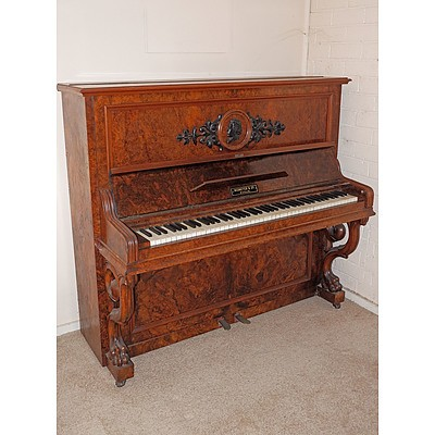 Neumeyer & Co Berlin Burr Walnut Upright Piano
