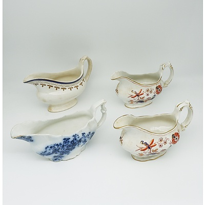 Four Victorian Gravy Boats Including Booths and Grindley & Co