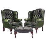Superb Deep Buttoned Green Leather Chesterfield Wingback Armchairs and Ottoman