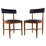 Four G Plan Teak and and Black Vinyl Upholstered Fresco Dining Chairs