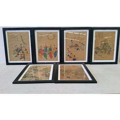 Framed Korean Watercolour Paintings - Lot of 6