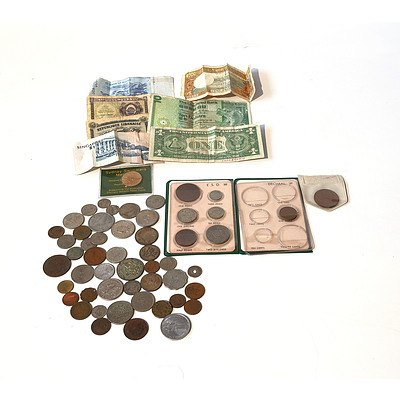 Selection of Australian and International Coins and Bank Notes Including Australian Shillings