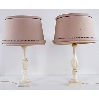 Pair of Classical Marble Base Lamps with Cream Shades