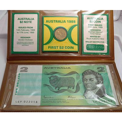 Commemorative Issue of the 1St $2 Coin & Last $2 Note