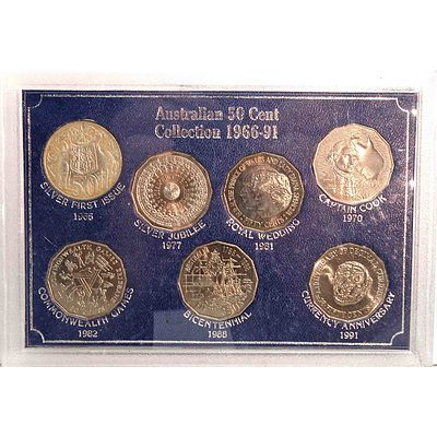 Cased Collection Of Australian 50c Coins