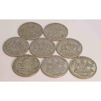 Collection Of Sterling Silver George V Shillings
