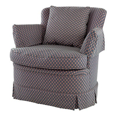 Armchair with Dark Patterned Fabric Upholstery