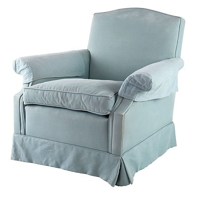 Armchair with Light Blue Fabric Upholstery