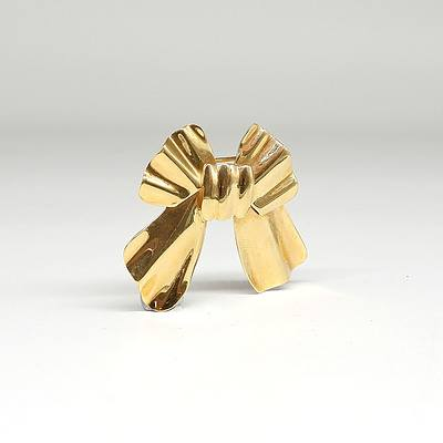 18ct Yellow Gold Bow Brooch with Swivel Lock, 7.3g