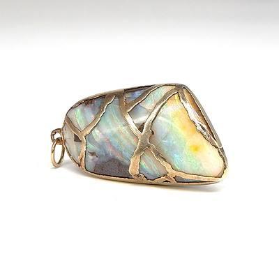 Boulder Opal Pendant in Gilt Silver Setting