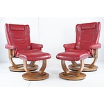 Pair of Moran Active Comfort Red Leather Upholstered Armchairs with Foot Stools