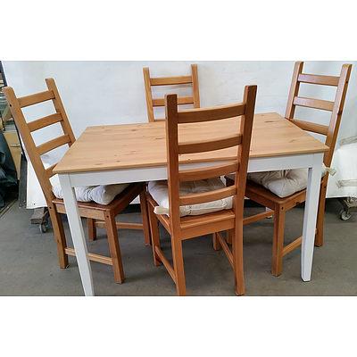 ikea White/Timber Dining Setting