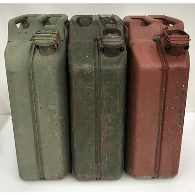 Three Metal 20L Fuel Cans