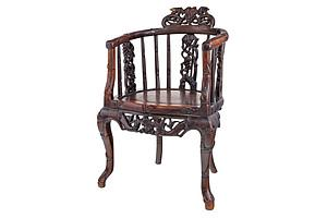 Chinese Carved Rosewood Tub Chair, Early 20th Century