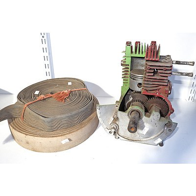 Two Stationery Motor Belts and a Small Sectioned Motor