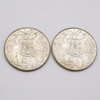 Two Australian 1966 Silver 50 Cent Coins