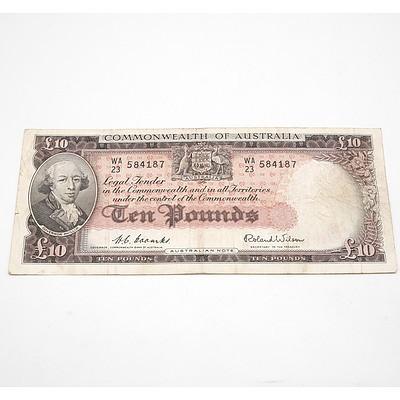 Commonwealth of Australia Ten Pound Coombs/ Wilson Banknote WA 23 584187