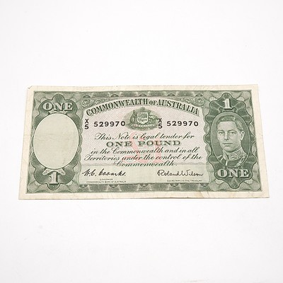 Commonwealth of Australia One Pound Coombs/ Wilson Note X5 529970