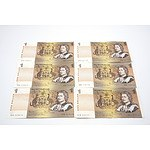 Six Australian $1 Johnston/ Stone Notes, Including Three Consecutively Numbered DPD629414-DPD629416