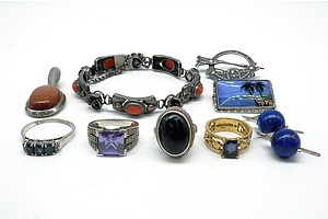 Group of Sterling Silver Jewellery, Including Lapis Lazuli Earrings, English Beachside Brooch and More