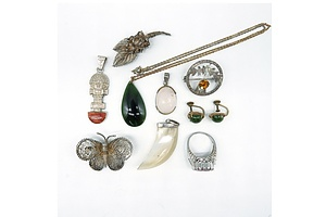 Group of Costume Jewellery, Including Filigree Butterfly and Flower, Kilt Brooch, Mother of Pearl Pendant and More