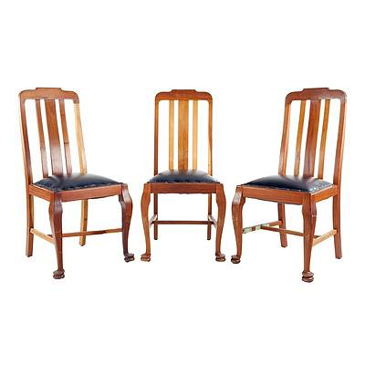 Three Tasmanian Blackwood and Leather Upholstered Slat Back Dining Chairs Circa 1920s