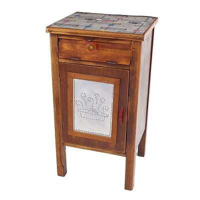 Rustic Australian Small Cupboard with Linoleum Top and Pierced Tin Panel