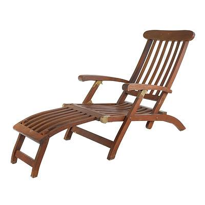 Reproduction Folding Teak and Brass Steamer Chair