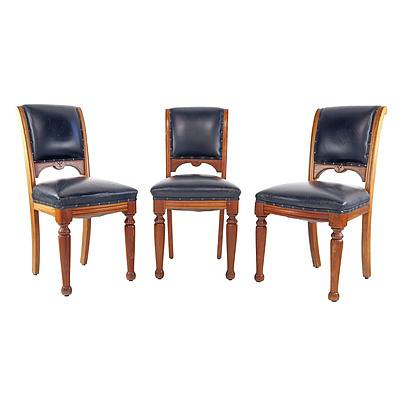 Three Tasmanian Blackwood and Leather Upholstered Dining Chairs Circa 1900