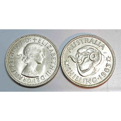 Australia: Silver Shillings 1963 (x2)