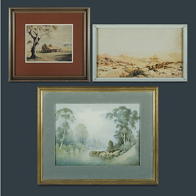 Australian School (3), George ANSDELL, 'Early Misty Morning, Kangaroo Valley'; Jan de LEENER, 'Eastern Palestine'; & Victor R WATT, 'Bush Property'