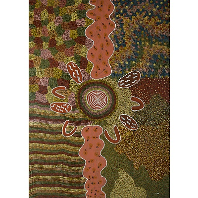 NAPANGARDI Topsy Peterson (Aboriginal Born 1931), 'Yuelamu Honey Ant Dreaming'